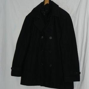 CALVIN KLEIN Black Wool blend Coat, sz Medium